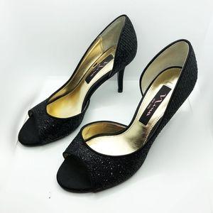 Nina New York black open toe sequence dress shoe 6